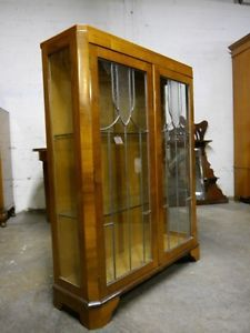 Art Deco 1930's Leaded Glass China Cabinet Bookcase Curio Cabinet