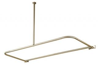 Kingston Brass CC313 Satin Nickel D Type Shower Curtain Rod with Ceiling Support