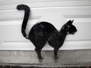 Great Vintage Halloween Black Cat Silhouette Painted Metal Arched Back Original