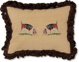 Beagles Needlepoint Decorative Dog Throw Pillow
