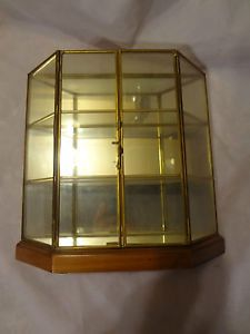 RARE Vintage Curio Case Brass Wood Glass Mirror Display Cabinet Table Top Case