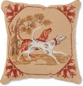 Running Dogs Decorative Hunting Needlepoint Pillow