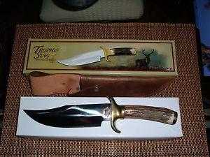 FROST CUTLERY TROPHY STAG DEER STAG BOWIE KNIFE NEW TS 123 W SHEATH