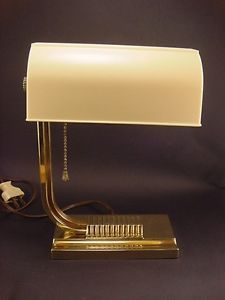 RARE Vintage Art Deco Chase Brass Bond Desk Lamp
