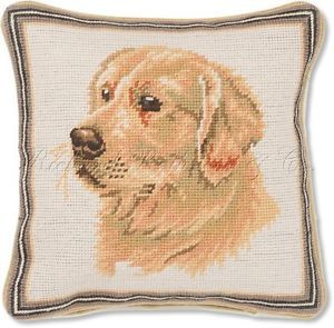 Golden Retriever Decorative Needlepoint Dog Pillow