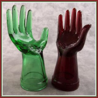 2 Red Green Glass Mannequin Jewelry Ring Display Hands