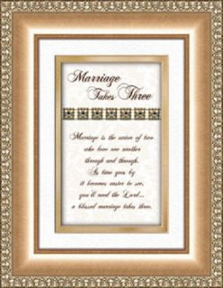 Wedding Anniversary Gift Marriage Takes Three Poem Framed Verse Print Heartfelt