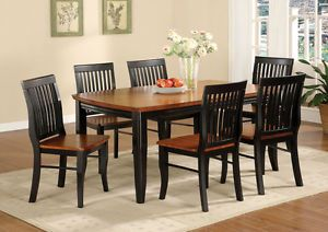 7 Piece Two Tone Antique Black Oak Dining Room Set Table Wood Furniture New