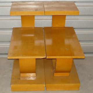 1940 1950 Mid Century Pair Blonde Vintage Art Deco Modern Age Tiered End Tables