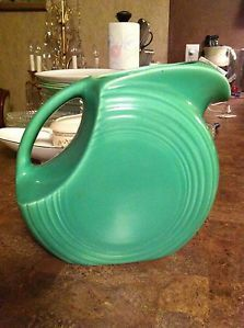 Vintage Fiestaware Green Disc Juice Water Pitcher Homer Laughlin Fiesta Ware
