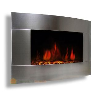 "Stainless Steel 1500W Adjustable Electric Wall Mount Heater Fireplace 33""X21"""