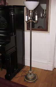 Vintage Art Deco Torchiere Candelabra Floor Lamp with Milk Glass Shade Rewired