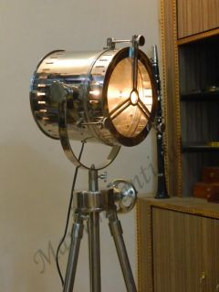 Designer Nautical Spot Light Tripod Floor Lamp Industrial Chrome Floor Lamp