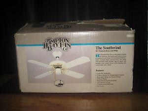 "Hampton Bay 42"" White Ceiling Fan Harbor Light New in Box Flush Mount Brass"