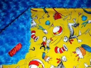 Girl Baby Kids Boy Robert Kaufman Dr Seuss Cat in The Hat Blanket Bedding Crib