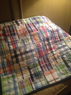Pottery Barn Kids Baby Toddler Quilt Madras Boy Crib Bed Blue Red Green White