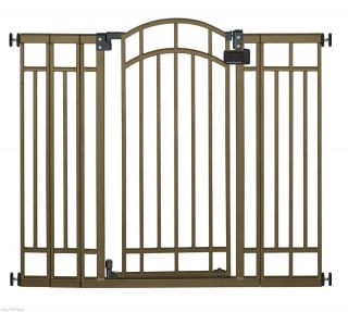 New Wide Tall Walk thru Through Baby Pet Dog Infant Door Safety Gate Bronze