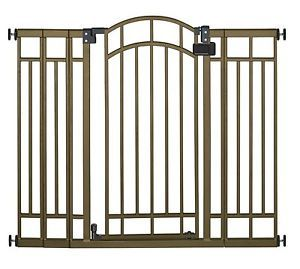Baby Toddler Dog Pet Gate Extra Tall Walk thru Infant Safety Bronze Stairs Kids
