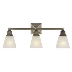 New 3 Light Mission Bathroom Vanity Lighting Fixture Antique Brass White Glass