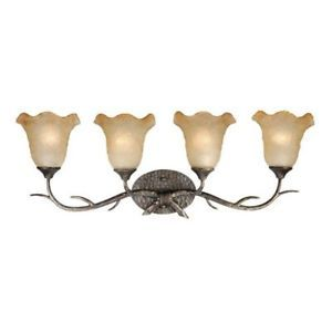 New 4 Light Rustic Vine Bathroom Lighting Vanity Fixture Bronze Umber Glass