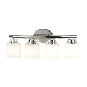 New 4 Light Bathroom Vanity Lighting Fixture Polished Nickel White Opal Glass
