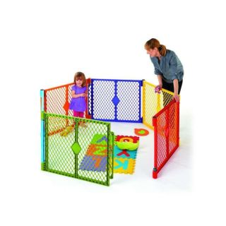 North States Color Superyard Baby Pet Gate Portable Play Yard 6 Panel 8769