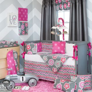 Glenna Jean Baby Girl Bright Pink Grey Flower Dot Crib Nursery Quilt Bedding Set