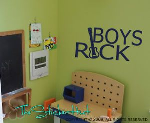 Boys Rock Guitar Sticky Vinyl Wall Art Bedroom Decals Stickers 533