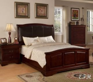 Cherry Wood Finish Genuine Leather Panel King Size Bed