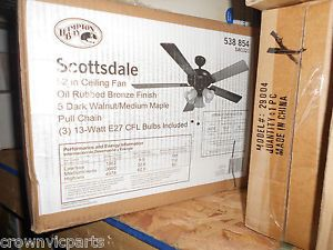 ​hampton Bay 52 in Scottsdale Oiled Rubbed Bronze Indoor Ceiling Fan Light Kit