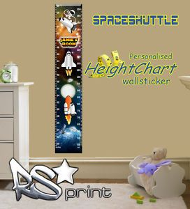 Kids Bedroom Personalised Outer Space Solar Height Chart Wall Sticker V LRG