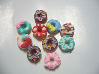 10 Pcs Craft Dollhouse Miniature Food Kitchen Homedeco Art Supply Color Donut