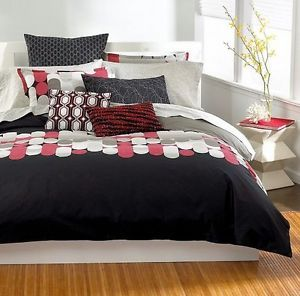 Bar III Pinball Full Queen Duvet Comforter Cover Reversible Black Grey Taupe Red