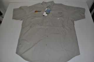 Columbia PFG Sportswear Electric Supply Tan Khaki Pocket Shirt Mens Size Large L