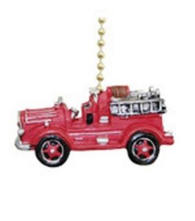 Vintage Fire Truck Fireman Ladder Firefighter Fan Pull