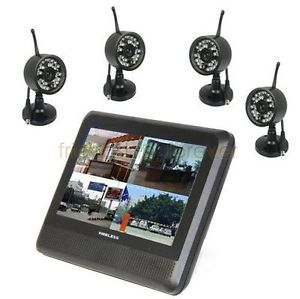 "Wireless 4CH Quad DVR 4 Cameras 7""TFT LCD Screen Monitor Home Security System US"
