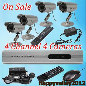 4 CH 4 Channel CCTV DVR Motion Detection Security Record System 4 Outdoor Camera