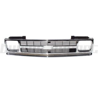1991 1992 Chevy S10 Pickup Front Grille Chrome Frame GM1200147 Black Inner Grid