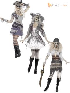 Ladies Sexy Ghost SHIP Zombie Pirate Costume Halloween Fancy Dress Womens Outfit