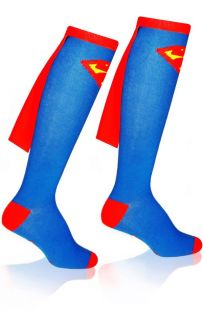 Superman Cape Blue Red Knee High Socks Authentic Mens or Womens DC Comics Run