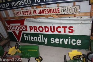Large 10 Feet Long Conoco Products Service Station Gas Oil Sign Painted Tin RARE
