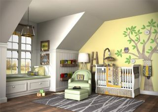 WOW Look Unique Gender Neutral 10pc Owl Baby Crib Bedding Set Gray Yellow Green