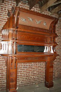 Great Antique Walnut Fireplace Mantel Hand Painted Bird Scene on Header