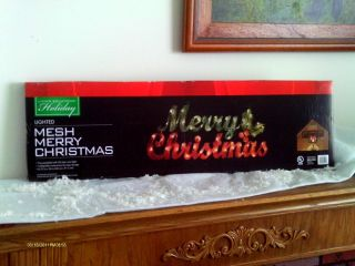 "Large 3 ft Long Lighted Mesh ""Merry Christmas"" Indoor Outdoor Holiday Decor' New"