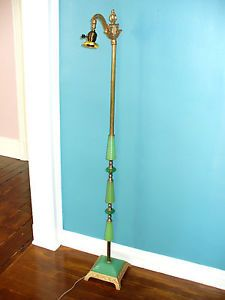 Antique Art Deco Jadeite Vaseline Glass Floor Bridge Lamp