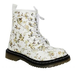 Womens Martin DM Style Floral Leopard Print Matt Combat Ankle Boots Xmas Gift