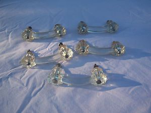 Lot of 5 Antique Clear Glass Dresser Drawer Cabinet Pulls Knobs Bridge Handles