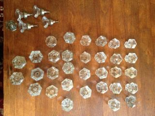 Lot of 37 Antique Vintage Glass Cabinet Closet Door Knobs Drawer Pulls