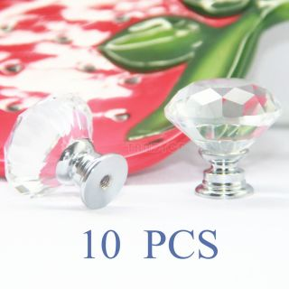 10pcs Clear 33mm Diamond Crystal Glass Pull Handle Cabinet Drawer Door Knob