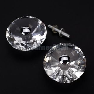 1 Pair Diamond Shape Crystal Glass Room Bath Door Cabinet Knob Pull Decoration